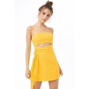 Yellow Linen Wrap Cutout Mini Dress